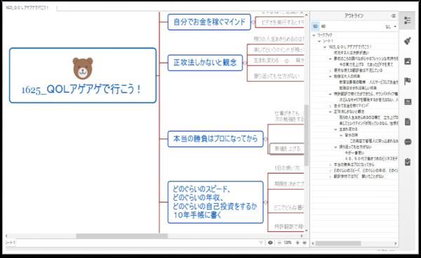 ビデオのメモをXmindでとって、マインドマップにしアウトライン表示