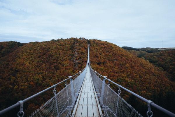 はるか山の向こうまで延びるつり橋