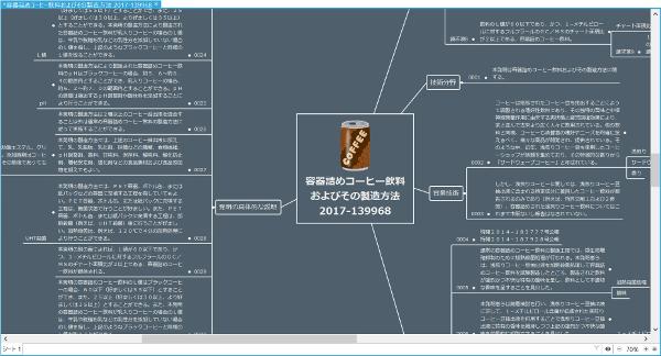 特許明細書「容器詰めコーヒー飲料 およびその製造方法」のマインドマップ