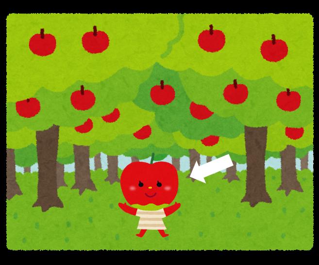 リンゴ果樹園の中にいるリンゴのキャラクター